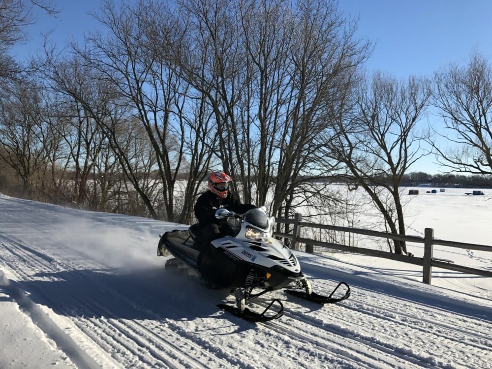 snowmobile on trail