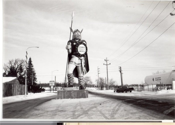 Ole was moved from the intersection of 3rd and Broadway to a new location a half block north on August 21, 1980 to install a new stoplight at the intersection. Photo courtesy of Douglas County Historical Society.