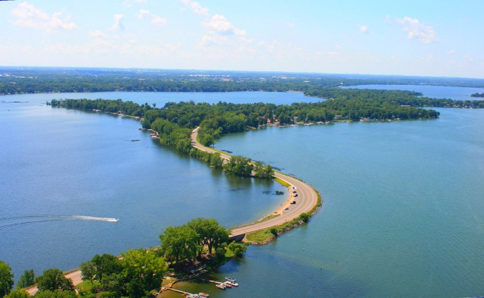 Overhead picture of Rotary Beach and the channel between Lake Le Homme Dieu and Lake Carlos. Photo by Cybersprout