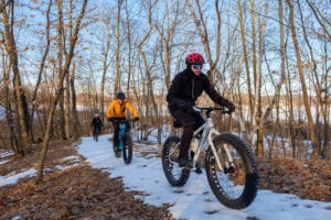 fat tire biking on trail